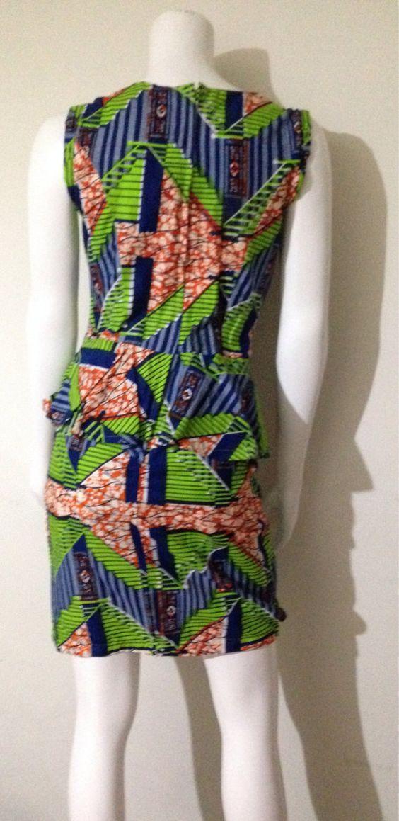 100% Vlisco African Print Peplum Dress by AGirlNamedGrey on Etsy