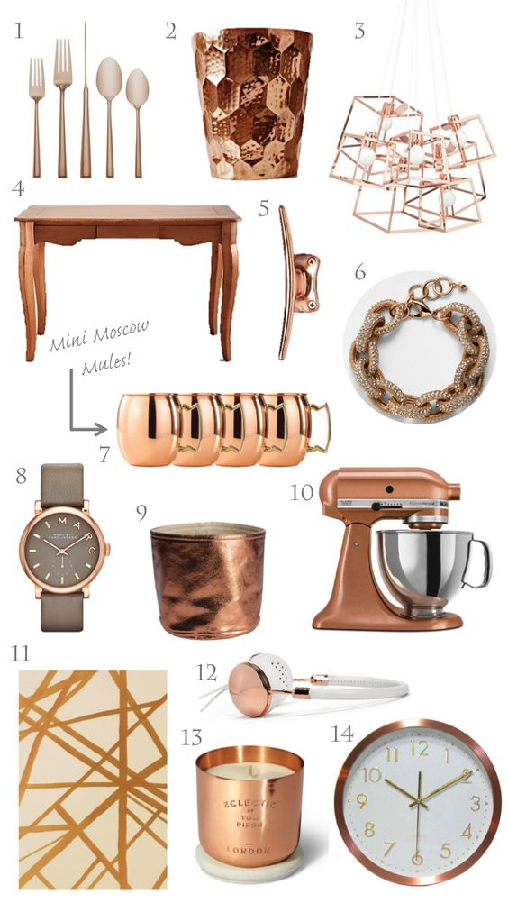 trending copper, rose gold, home decor