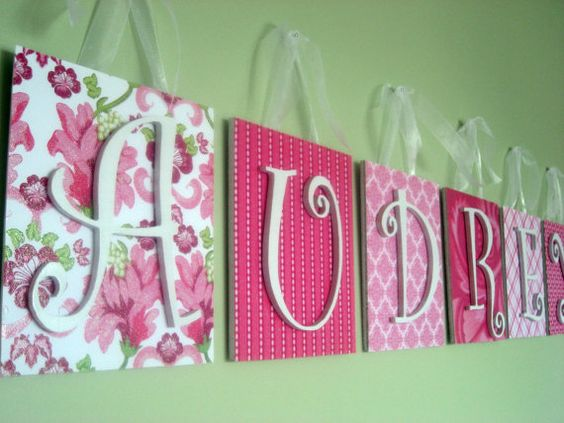 scrapbook paper, canvas, letters.: Letter Hanger, Girl Room, Kids Room, Diy Craft, Scrapbook Paper, Wooden Wall, Baby Room, Canvas Letter