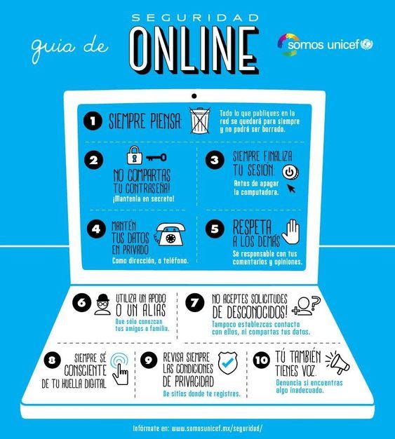 Cuando tu o tus hijos usan internet, es recomendable que tengas siempre en cuentas los siguientes consejos Seguridad online para adolescentes #infografia