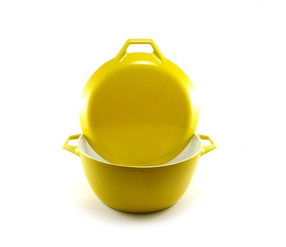 Yellow enamel cast iron dutch oven by Michael Lax Copco, large, 4 quart, D3, mid-century. $79.50, via Etsy.