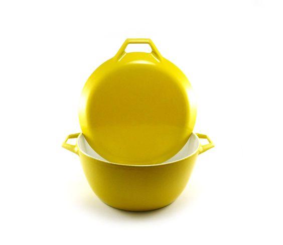 Yellow enamel cast iron dutch oven by Michael Lax Copco, large, 4 quart, D3, mid-century. $79.50, via Etsy.