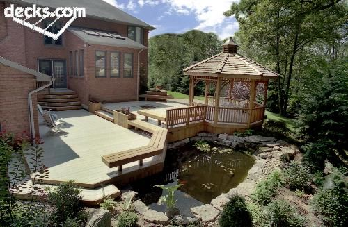 Like the gazebo attached to deck...similar to my plans w/o traditional gazebo style