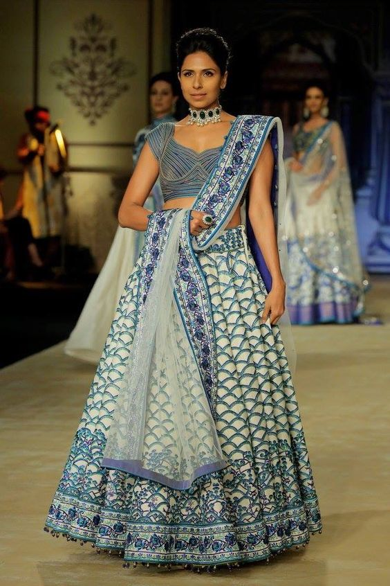 Indian Lehenga Choli Designs For Wedding cambridge blue by Anita Dongre
