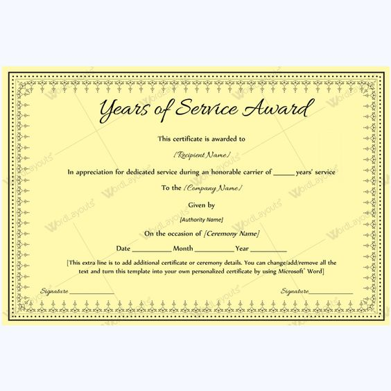 13 best Years of Service Award images on Pinterest Certificate - sample award certificates