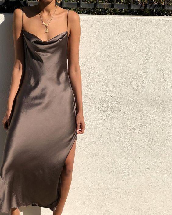 Silk Split In 2020 Brown Slip Dress Fashion Fashion Inspo