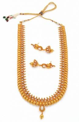 Multicolor Elegant Antique Golden Stone Studded Traditional Temple Theme Necklace Set Necklaces and Necklace Sets on Shimply.com