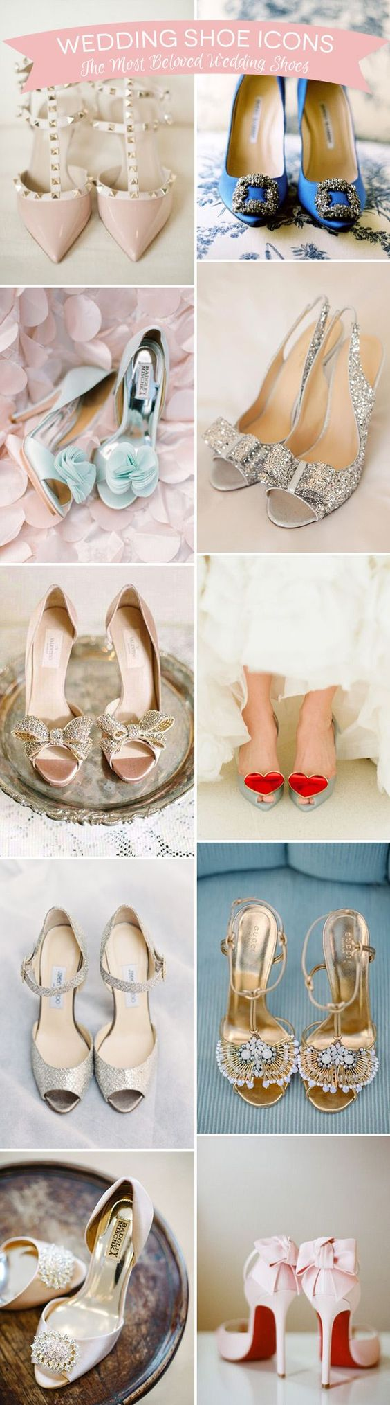 Wondering what the most popular wedding shoes in the world are? These are the all-time faves - iconic bridal shoes from Jimmy Choo, Valentino, Louboutin, Badgley Mischka & more...