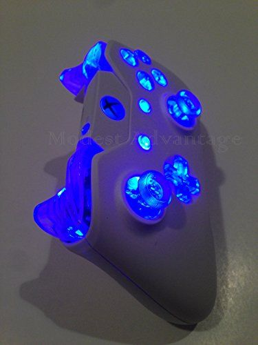 Xbox One Controller White Shell Full Blue LED Mod