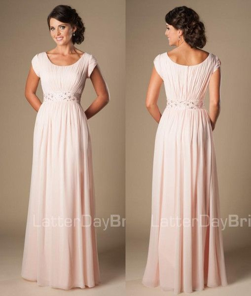 Blushing Pink Long Formal Full Length Modest Chiffon Beach Evening Bridesmaid Dresses With Cap Sleeves Beaded Ruched Temple Bridesmaids Dres: