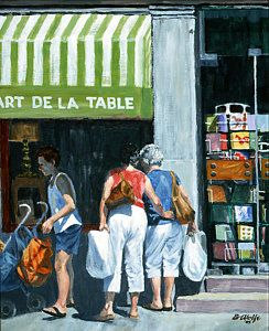 Storefront Painting - The Window Shoppers by Bassel Wolfe