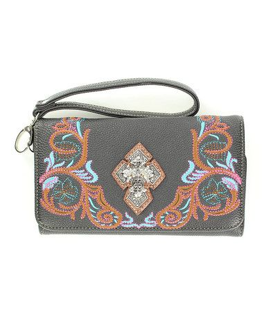 Look what I found on #zulily! Black Embroidered Cross Wristlet #zulilyfinds