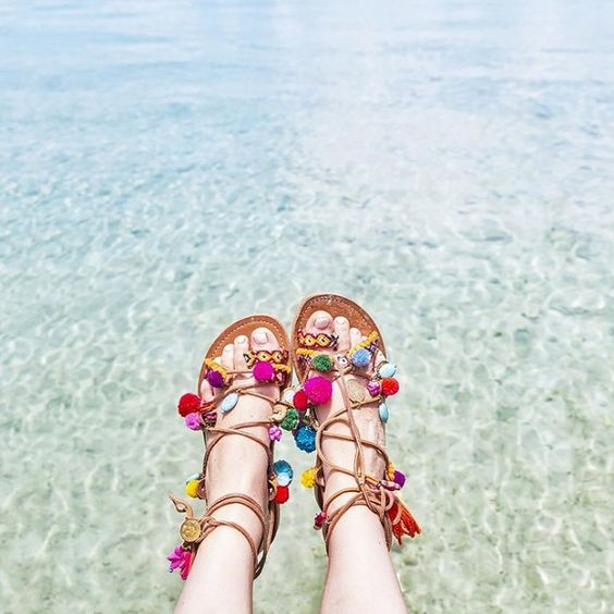 Pom pom lace up sandals for summer: