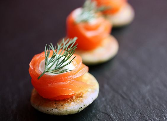 Creme fraiche smoked salmon and salmon on pinterest for Canape ideas nigella