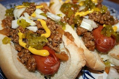 Grilled Hot Dogs with Cajun Hot Dog Sauce