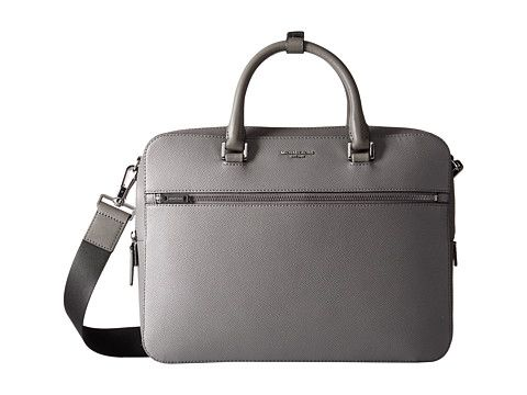 Michael Kors Harrison Cross Grain Leather Medium Zip Briefcase Grey - Zappos.com Free Shipping BOTH Ways