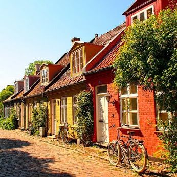 Beautiful house lane in Aarhus, Denmark. Enjoy these beautiful locations with :carrentalcopenhagenairport.com