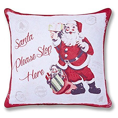 Catherine Lansfield Home Christmas Retro Santa Piped Edge Cushion Cover, Red, 43 x 43 Cm