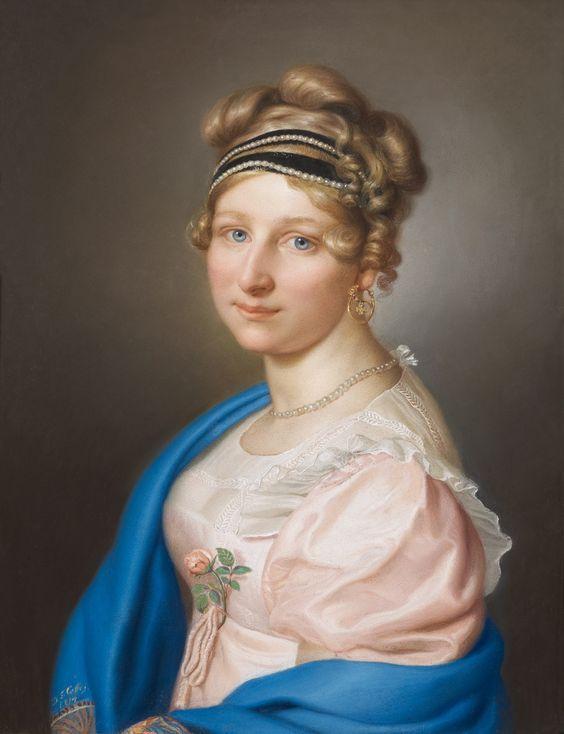 Daniel Ferdinand Caffe - Portrait de jeune femme en buste au ruban de perles