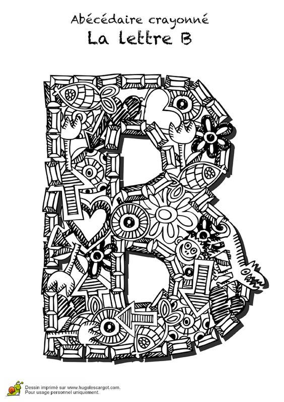 Coloriage abecedaire crayonne lettre b sur hugolescargot - Hugo l escargot com ...