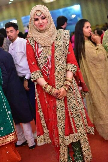 Traditional hijab style with full embroidered suit