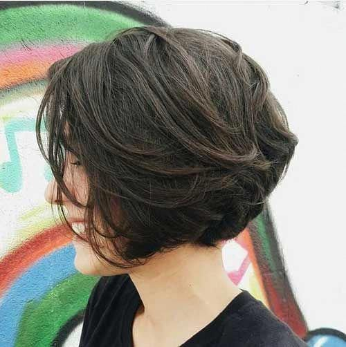 15 Layered Short Hairstyle For Girls Shortbob Haircut For Thick Hair Thick Hair Styles Short Dark Hair