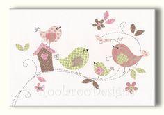Nursery Art, Bird Wall Art Print, Pink and Green Kids Artwork  Treetop Love - PRINT