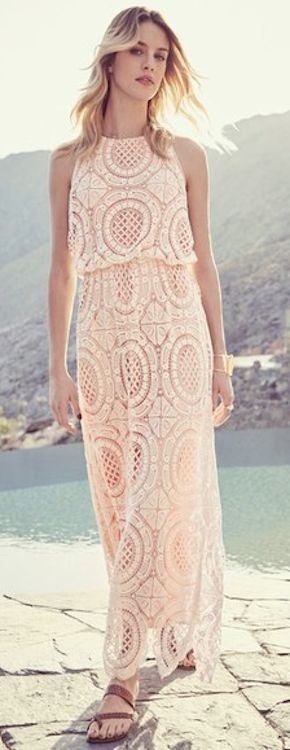 lace blouson maxi dress