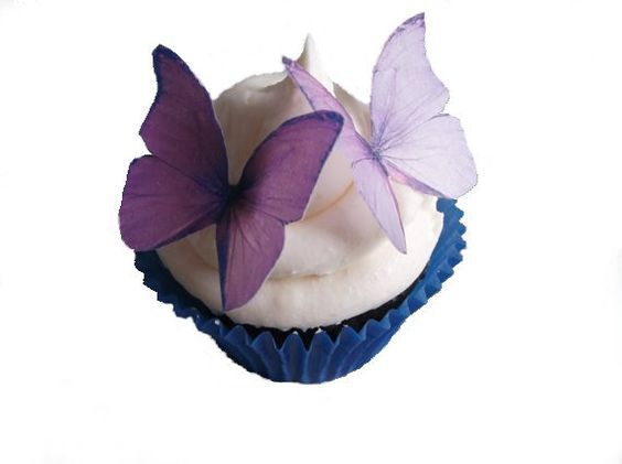 SPRING Cake Ideas  - Edible Butterflies in 24 Purple and Lavender - Wedding Cupcake, Cupcake Supplies, Cupcake Shop via Etsy