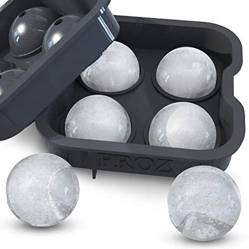 Froz Ice Ball Maker Novelty Silicone Ice Mold Tray 4 x 4.5cm Ball Capacity