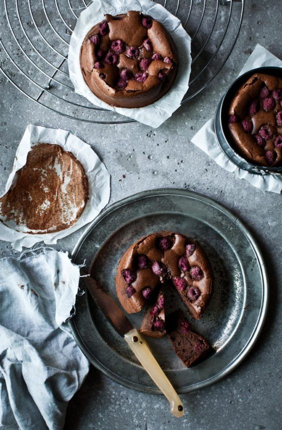 Spelt Brownies with Raspberries / Photography and Styling by Sanda Vuckovic
