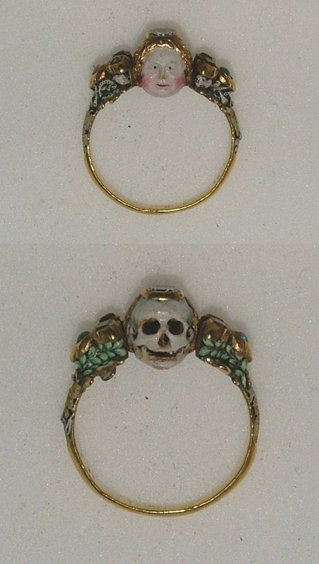 These are so beautiful.  Memento Mori ring Late 17th century, The Ashmolean Museum