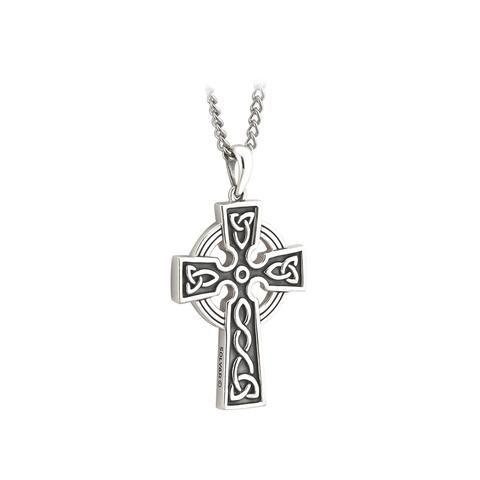 Celtic Cross Necklace Men S Sterling Silver 20 Or 24 Chain Large Pendant Made In Ireland Sterling Silver Cross Pendant Gold Chains For Men Side Cross Necklaces
