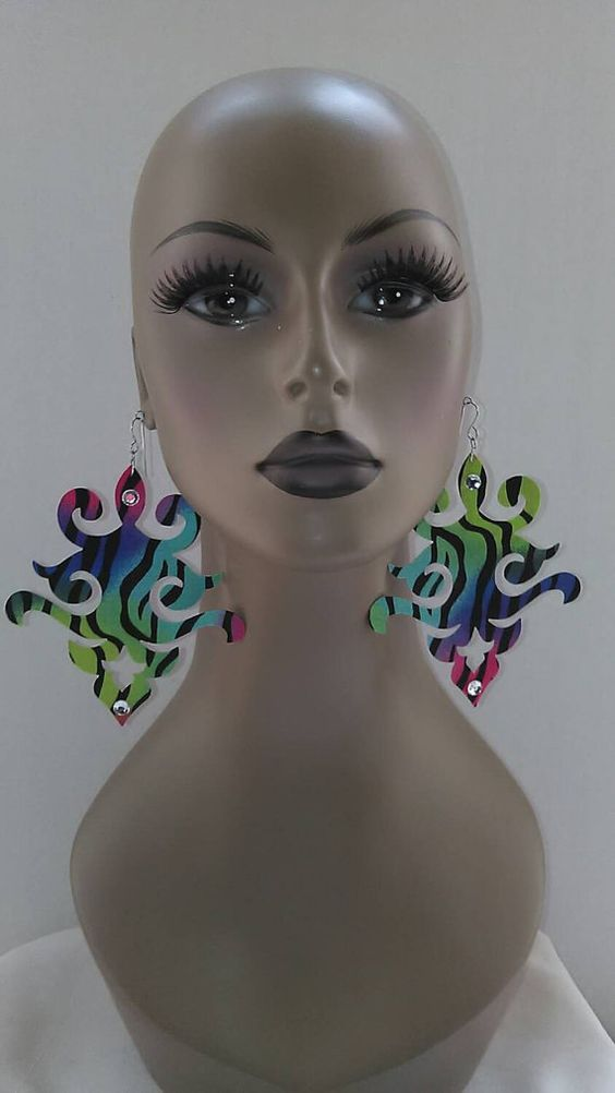 Uniquely Cut Fabric Earring Embellished with Rhinestones, Multi Colors, Large Fabric Earrings, Women Earrings, Large Earrings, Big Earring