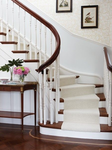 Not much of a wall paper fan but love the 2 toned railing and if the wall paper was just a neutral paint color..perfection!