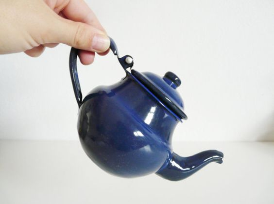 Vintage Blue Enamel Toy Teapot children's toy by FlyingSpoon