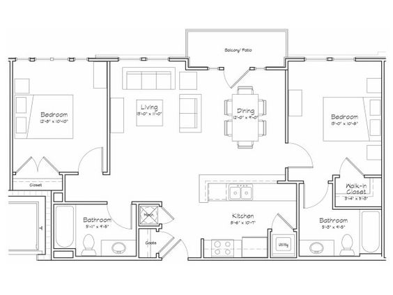 2d floor plan image 1 for the 2 bedroom 2 bathroom 900 for Apartment 2d plans