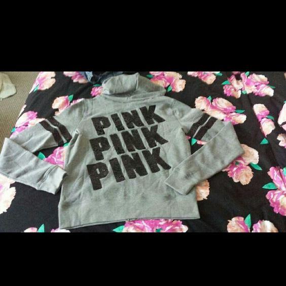 Victoria's Secret Pink Bling Hoodie Med  NWOT Size Medium. Nwot- online order. No trades please. PINK Victoria's Secret Tops Sweatshirts & Hoodies