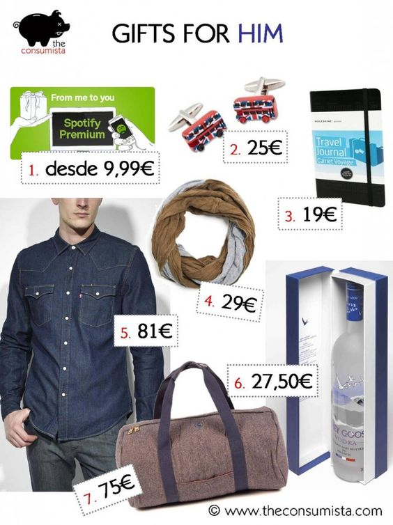 gift ideas for him at www.theconsumista.com spotify moleskine adolfo dominguez scarf levi's jeans shirt el ganso sports bag