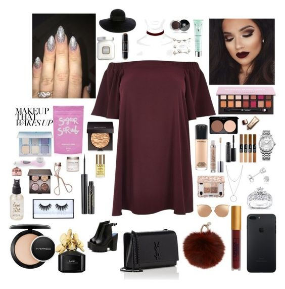 """Untitled #11"" by sarah4325 ❤ liked on Polyvore featuring River Island, Lipstick Queen, Kobelli, Botkier, Amanda Rose Collection, Calvin Klein, Yves Salomon, Linda Farrow, Yves Saint Laurent and MAC Cosmetics"
