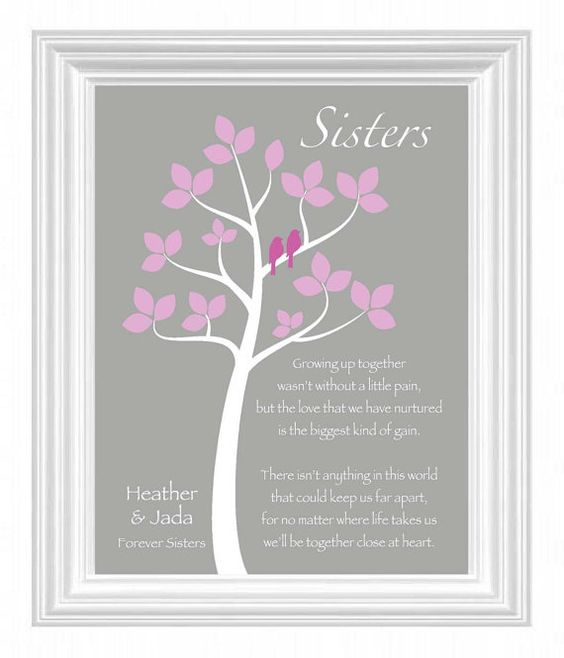Wedding Gift Ideas For Sisters : SISTERS gift printPersonalized gift for your SisterWedding Gift ...