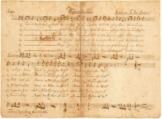 """Silent Night ~ MOHR-AUTOGRAPH  Undated score by Joseph Mohr, estimated to have been written between 1820 and 1825; with title: """"Weynachts=Lied"""" (""""Christmas Carol""""); D-dur, 6/8 time; for 2 voices with guitar accompaniment; 6 verses. Location: Salzburg Museum, Salzburg."""