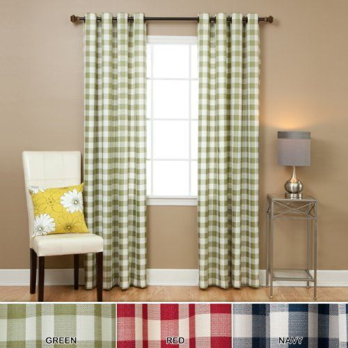 """Large Gingham Check Grommet Curtain 84"""" L"""