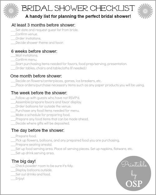 Bridal Shower Checklist  Despedida Ideas De Boda Y Boda