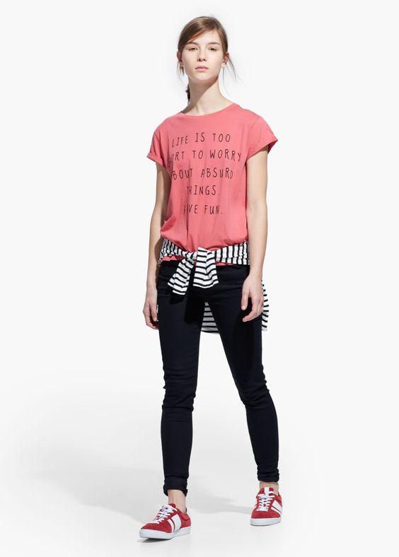 Cotton message t-shirt