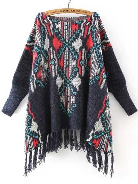 Multicolor Batwing Sleeve Tassel Sweater  , 40% Off 1st Order