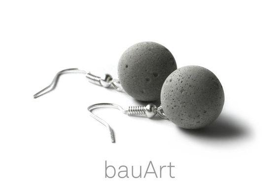 Beton-Kugel Ohrhänger *pur* von bauArt auf DaWanda.com