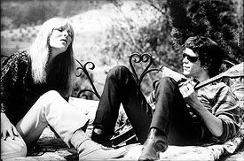"""Nico and Lou Reed of the Velvet Underground, rehearsing on the balcony of ""The Castle,"" Los Angeles, 1965. The music of this East Coast avant-garde rock band explored the bleak areas of drug use and alienation."""