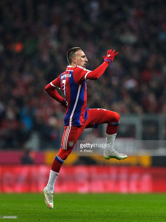 Franck Ribery of FC Bayern Muenchen celebrates after scoring the second goal during the Bundesliga match between FC Bayern Muenchen and FC Koeln at Allianz Arena on February 27, 2015 in Munich, Germany.