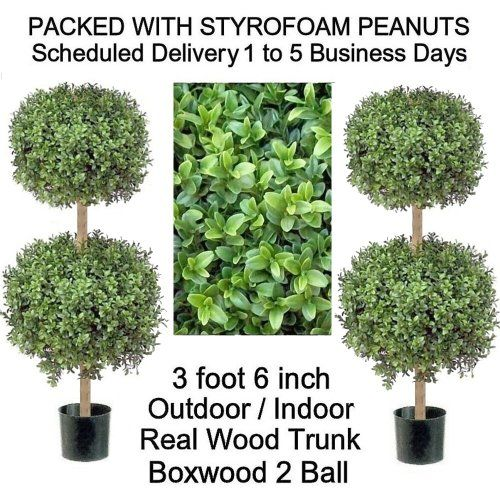 SPJPLANTS Two Artificial Outdoor Indoor Potted 3 foot 6 inch Boxwood 2 Ball Topiary Tree Plants, real wood trunk, packed with styrofoam peanuts SPJPLANTS http://www.amazon.com/dp/B0097L1RZK/ref=cm_sw_r_pi_dp_ii5cub0HCM41Y
